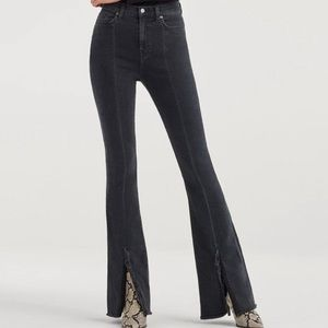 Luxe Vintage Exaggerated Kick Flare w Fray Hem